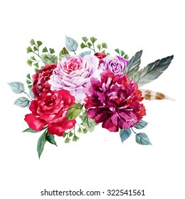 watercolor bouquet of flowers roses, peonies, isolated figure, invitation