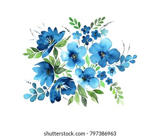Watercolor bouquet in light blue colors, tender flowers, leaves and grass. Isolated on white background. Painted with love