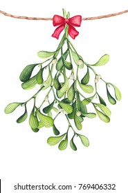 Watercolor Bouquet with Mistletoe and Red Bow. Christmas and New Year Illustration