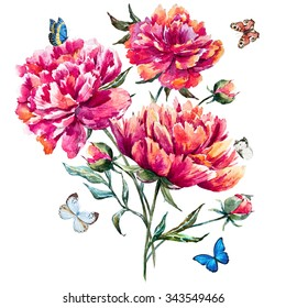 watercolor bouquet of peonies, red peony, botanical card, pink flowers, butterflies,butterfly sitting on a flower