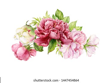 Watercolor bouquet of peonies and roses. Botanical illustration of flowers.