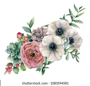 Watercolor bouquet with succulent, ranunculus and anemone. Hand painted flowers, eucaliptus leaves and succulent branch isolated on white background. Ilustration for design, print or background