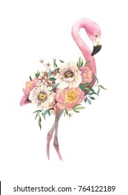 Watercolor bouquet with tropical bird, eucaliptus, peony and anemone, flamingo. High detailed hand drawing illustration