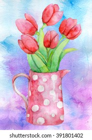 Watercolor bouquet of tulips in a pot with polka dots.