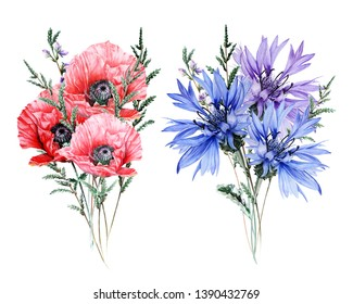 Watercolor bouquet with wild flowers - Poppy, Bell, cornflower, heather, Muscari, Cosmos, Foxglove, Blue Bell