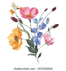 Watercolor bouquet with wildflowers, herbs and leaves, isolated on white background