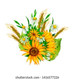Watercolor bouquet of wildflowers with  sunflowers, spikelets and  chamomile