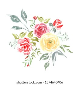 Watercolor bouquet of yellow and red roses. Botanical garden bloom. Great for cosmetics packaging, fashion print, wedding invitation, greeting cards, wallpaper, wrapper and etc.