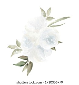 Watercolor bouquets with elegant summer flowers and leaves, isolated on white background