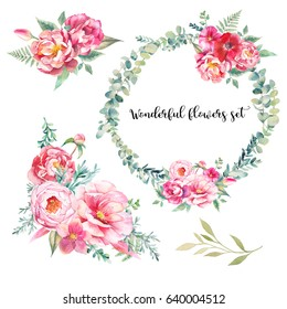 Watercolor bouquets of flowers and wreath  set. Hand painted colorful floral compositions isolated on white background. Vintage style peonies, rose, tulip and leaves posy.