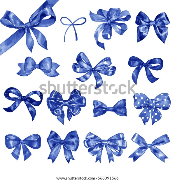 Watercolor bow big set. Different blue bows and ribbons for holidays, greeting, celebration as Christmas, birthday, Valentines day, wedding.