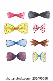 Watercolor bow ties painting