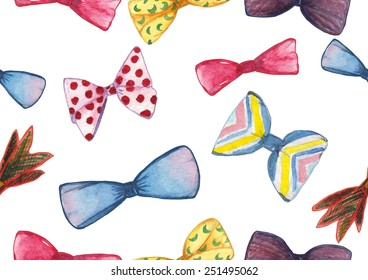 Watercolor bow ties pattern on white background