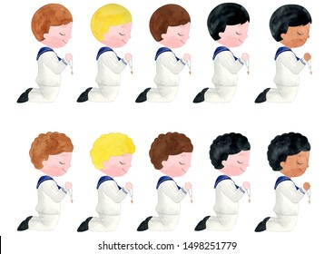 Watercolor Boy First Communion Illustration, Boy First Communion Clipart