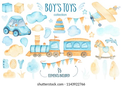 Watercolor boys toys baby shower set with car airplane train garland and trees clouds cubes pyramid hearts rocking horse isolated on white background. Birthday decoration illustration