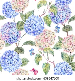 Watercolor branch of blooming hydrangeas and butterflies. Summer seamless pattern. Natural Botanical Illustration on white background