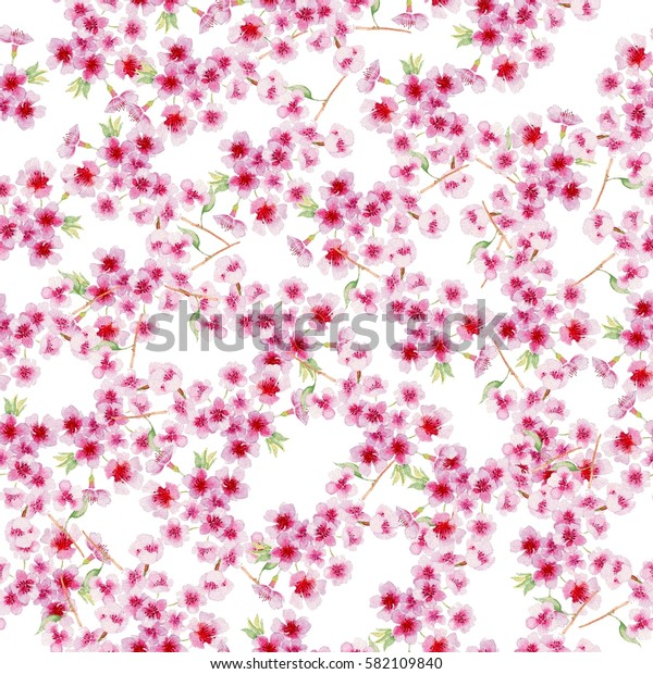 Watercolor branch blossom sakura, cherry tree with flowers isolated on a white background. Hand painting on paper. Watercolor seamless pattern.