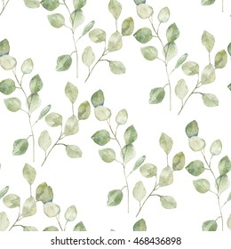 Watercolor branches eucalyptus. Floral pattern for wrapping, wallpaper, fabric