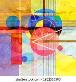Watercolor bright abstract background with geometric objects. Abstract template for poster or website design.