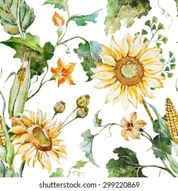 watercolor bright autumn pattern sunflowers, corn, pumpkin leaves