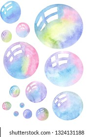 watercolor bright bubbies, iridescent palette, reflection of windows in each sphere