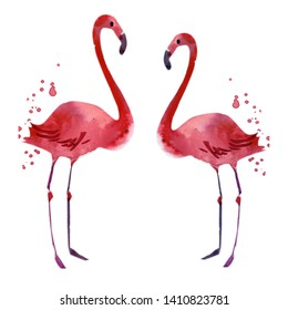 watercolor bright flamingo in love