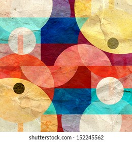 watercolor bright multicolored geometric abstract pattern of different elements