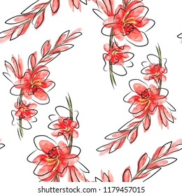 Watercolor Bright Paterrn with red flowers Montbretia and grafic