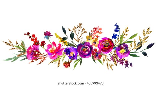 Watercolor bright  purple red flowers  golden  leaves  floral wreath  glitter boarder arrangement isolated on white background .