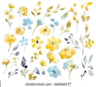 Watercolor bright summer floral set, yellow abstract flowers, leaves and bouquets. Isolated objects on white background