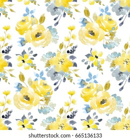 Watercolor bright summer pattern yellow and blue abstract flowers