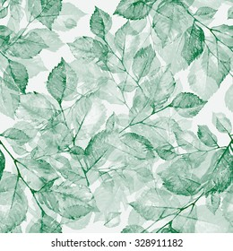 Watercolor bright wonderful  leaves seamless pattern Z. Wonderful print of a watercolor sketches by hand. Retro. Vintage. Toned.