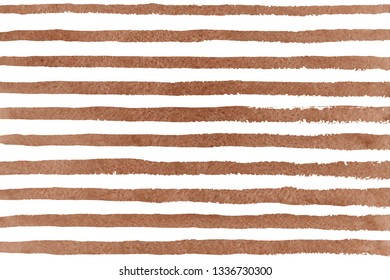 Watercolor brown brush strokes on white background. Hand drawn grunge stripes pattern for fabric print, textile design, fashion.