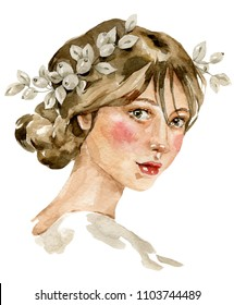 Watercolor brown-haired woman bride face profile. Bridal jewelry pearls hairpiece crown. Wedding paint raster hand drawn illustration. Ideal for hair accessories or wedding hairstyle and makeup logo.