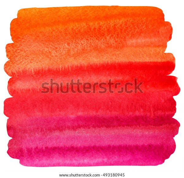 Watercolor brush drawn background with uneven edges. Striped watercolour gradient fill - orange, red, pink. Hand drawn texture. Brush stroke Valentines day template. Bright colorful stains.