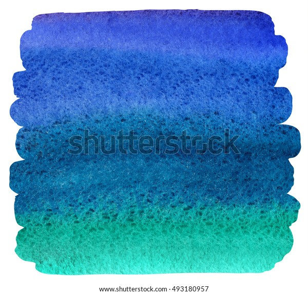 Watercolor brush drawn background with uneven edges. Bright colorful stains. Navy blue, ultramarine, emerald watercolour gradient fill. Painted abstract template with rough paper texture.