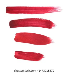 watercolor brush strokes red lipstick smears