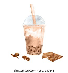 Watercolor bubble tea with chocolate flavor and tapioca pearls. Hand painted illustration on white.