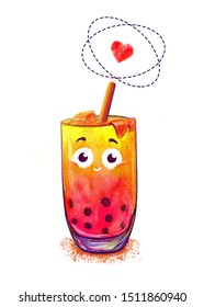Watercolor bubble tea drink tapioca. Bubble tea isolated on white background. Taiwanese drink. Cute kawaii character Tapioca pearls.