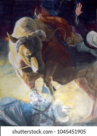 Watercolor of Bull Rider on Bull over Rodeo clown