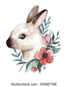 Watercolor bunny illustration. Cute little rabbit with flowers. Hand drawn painting. Perfect for springtime design.