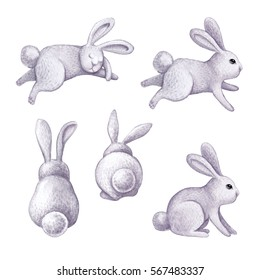 watercolor bunny illustration, gray cute rabbit, Easter bunnies set, kid's toys, animal clip art isolated on white background