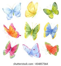 watercolor butterfly, a bright set of bright butterflies, children print