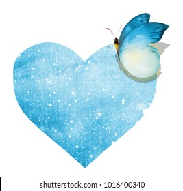 Watercolor butterfly with heart