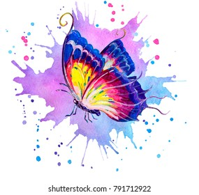 Watercolor butterfly on abstact backgraund.