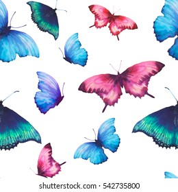 Watercolor butterfly seamless pattern. Hand drawn summer texture with various multicolor butterflies on white background. Repeating wallpaper design