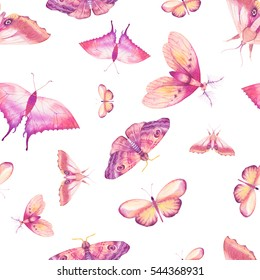 Watercolor butterfly seamless pattern. Hand drawn spring texture with various multicolor butterflies on white background. Repeating wallpaper design
