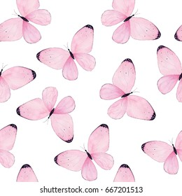 Watercolor butterfly seamless pattern on white background