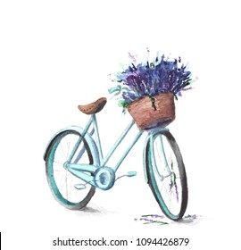 watercolor bycicle with basket of lavender
