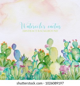 Watercolor cactus background. Watercolor hand draw cactus and succulents background